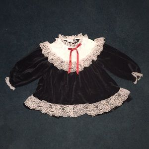 Vintage Black Velvet Toddler Dress